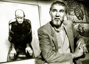 Cress with his 1988 Archibald winning portrait of John Beard