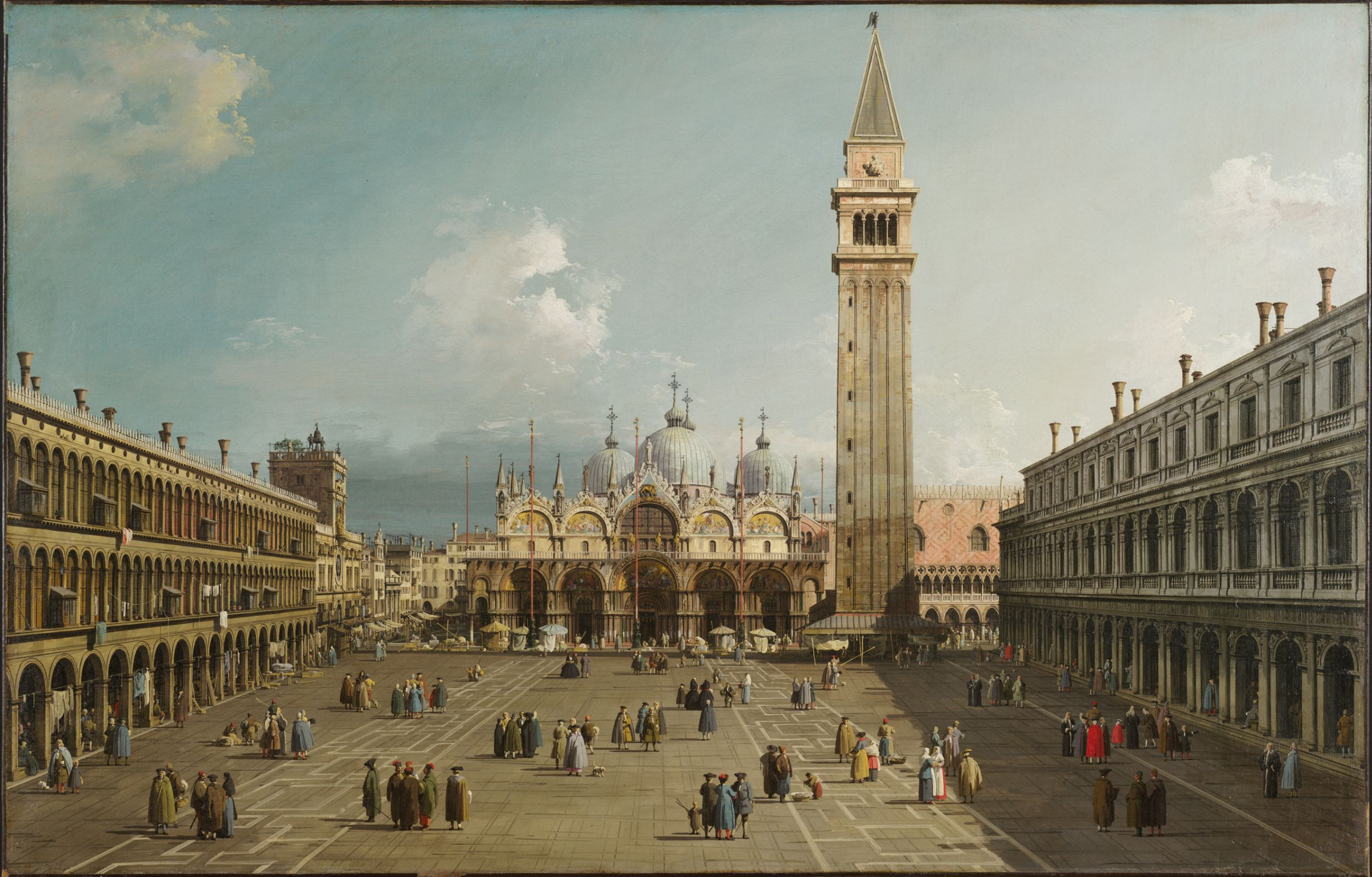 Piazza San Marco With The Basilica    (1730)    Canaletto                  Oil On Canvas