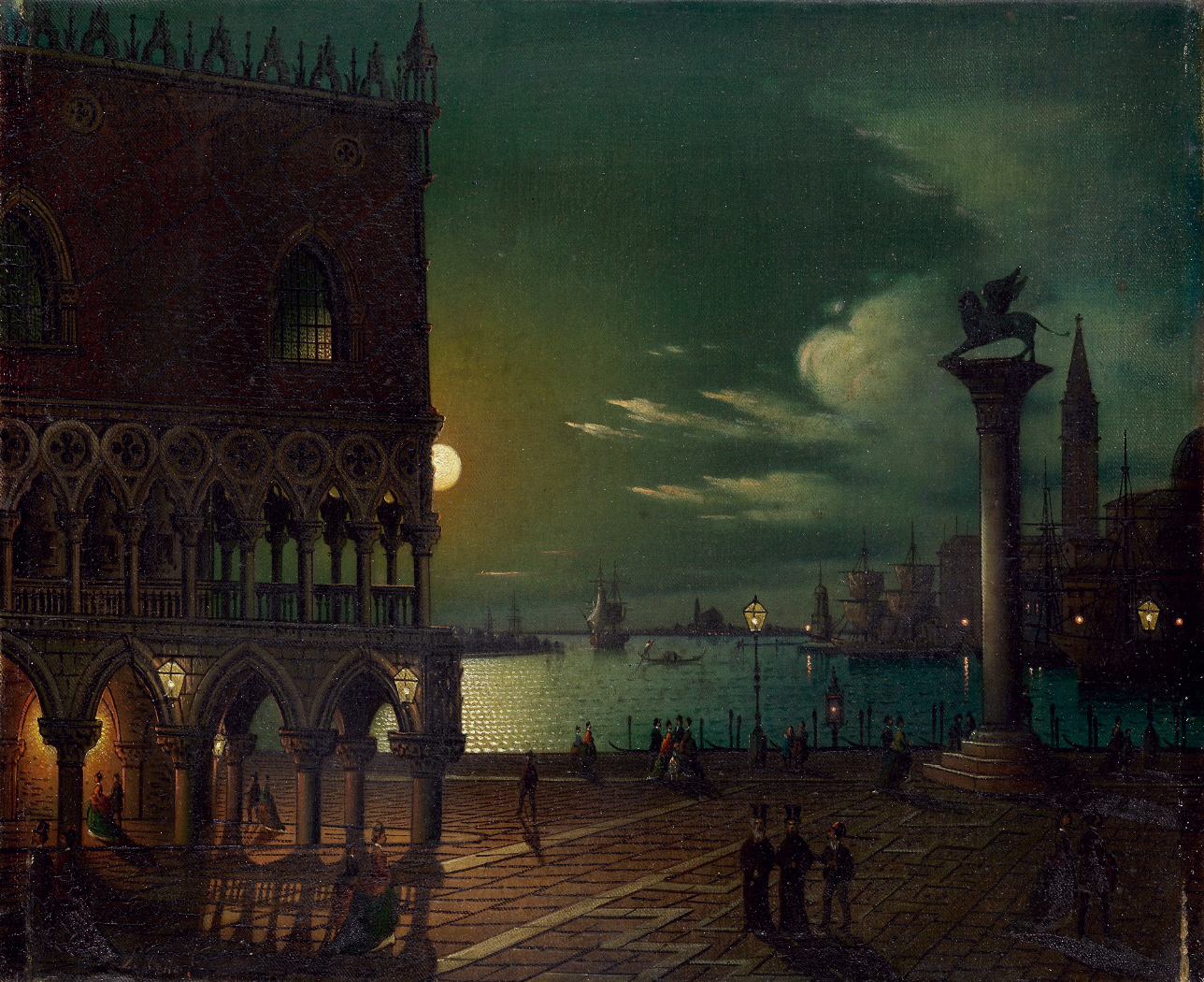 Ippolito Caffi, Marketplace in Venice by Moonlight