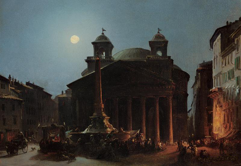 Ippolito Caffi, The Pantheon By Moonlight