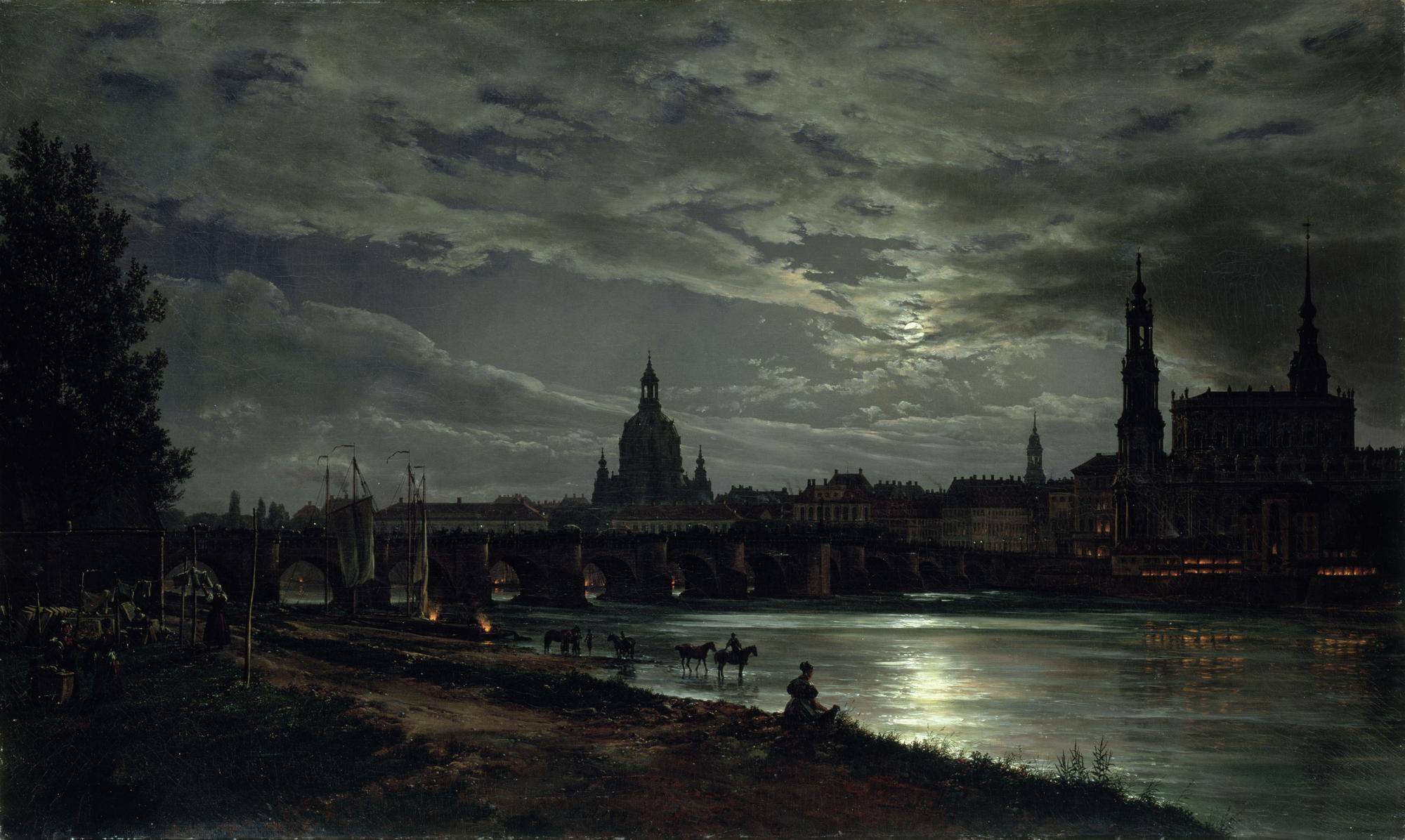 Johann Christian Claussen Dahl, Dresden In The Moonlight, 1839
