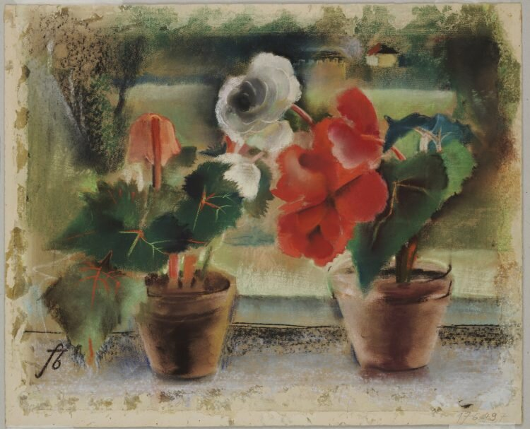 Friedl Brandeis, Begonias At The Window, 1936, Tempera on paper
