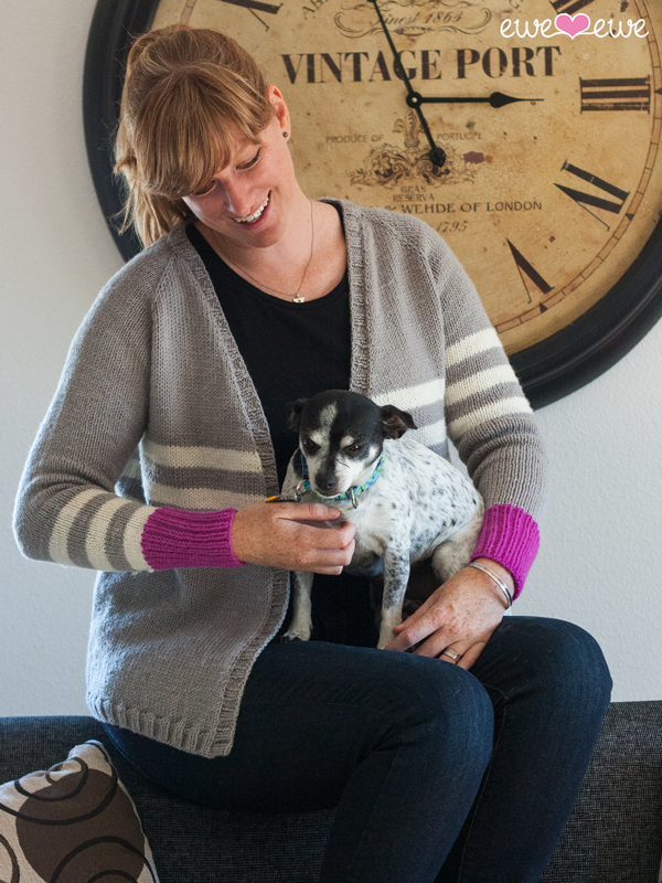 "Zoey Cardigan   (Ewe Ewe Yarns, featuring Wooly Worsted): a top-down, one-piece raglan style cardigan, designed to include 3"" of positive ease in the body for a comfortable, every-day knit, worn open (no buttons or closures)."