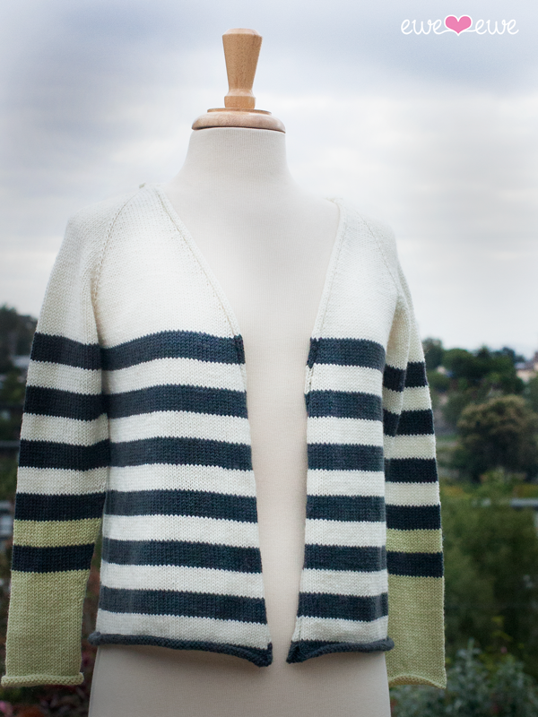 Sporty Stripe Cardi   (Ewe Ewe Yarns, featuring Ewe So Sporty): a top-down, one-piece raglan style cardigan with NO finishing; all the edges are rolled to create a casual look perfectly paired with a favorite pair of jeans.