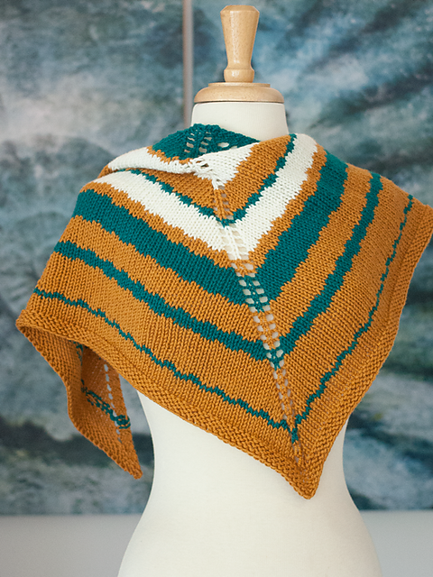 This Way   (Ewe Ewe Yarns, featuring Wooly Worsted): a top-down triangle shawl knit to compliment a crochet version designed by Heather of Ewe Ewe Yarns,  That Way .