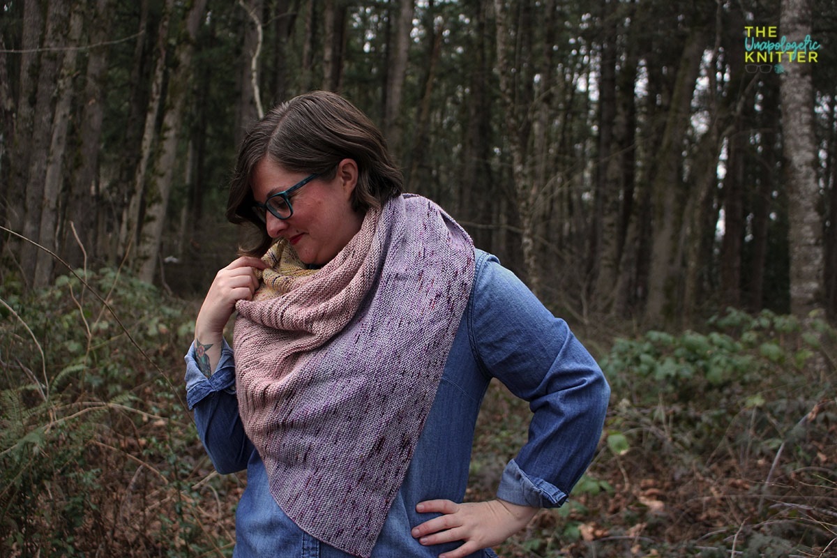 A 3-color garter triangular shawl with color shifting.