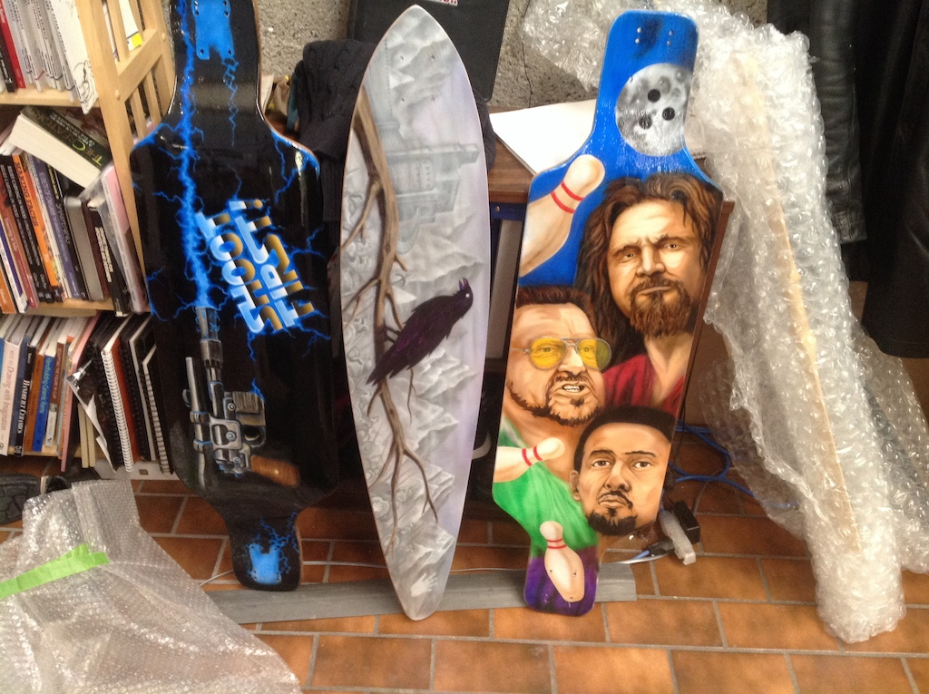 Hand painted board by Mike. A crowd favorite is the Big Lebowski board