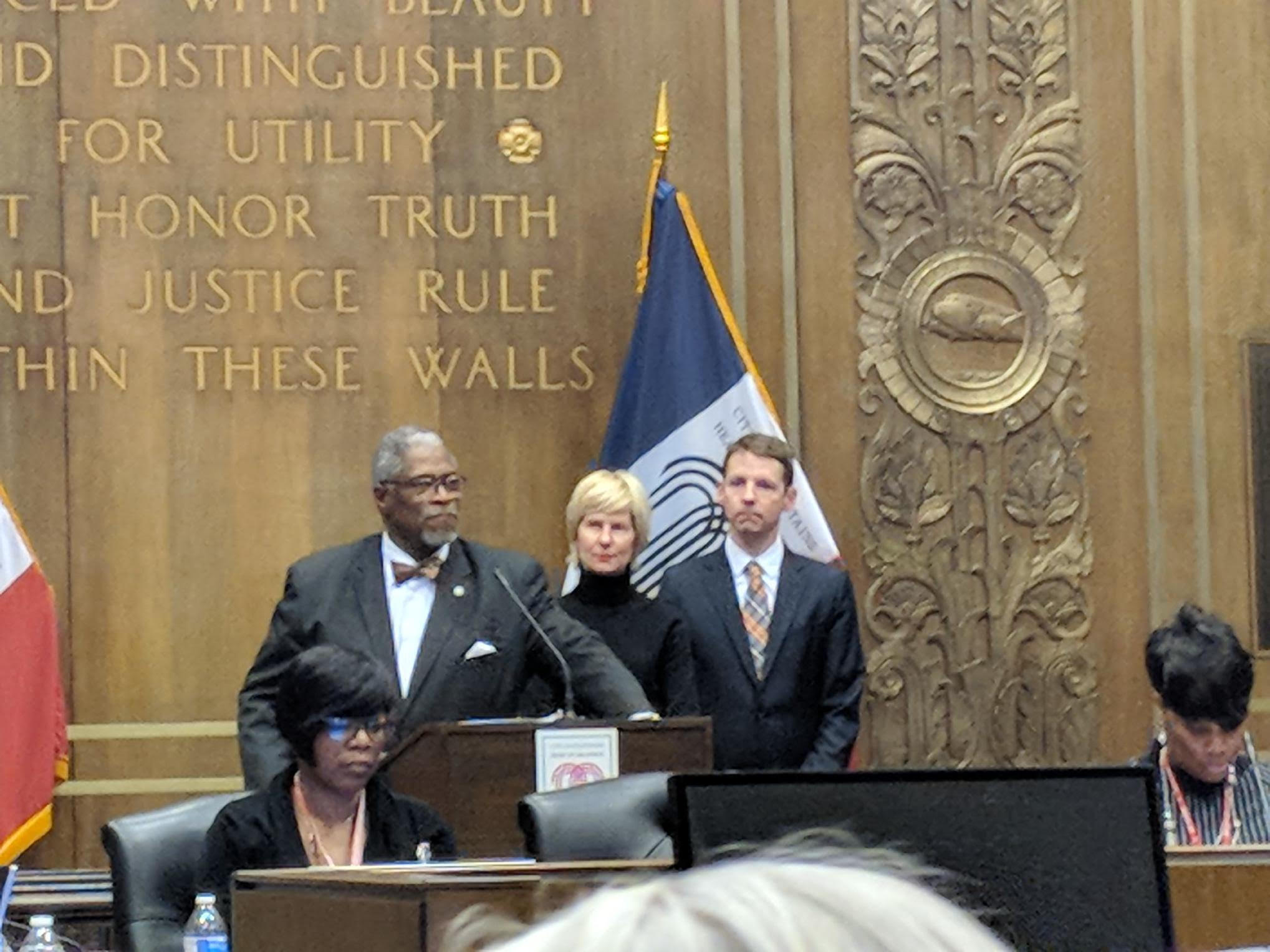 City of Kansas City, Missouri Mayor, Sly James, Women's Foundation President & CEO, Wendy Doyle and Vice President of Research & Policy And General Counsel,Kendall Seal