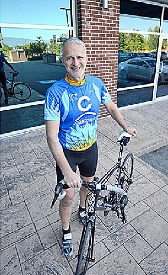 Miles Clyne getting ready to ride as a guest with the Cops for Cancer Tour de Valley fundraiser for the Canadian Cancer Society.