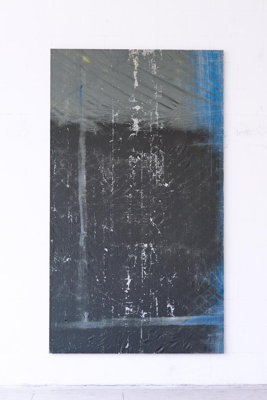 skeksi  , 2015    Tarp on wooden stretcher     91 x 52 x 1.25in