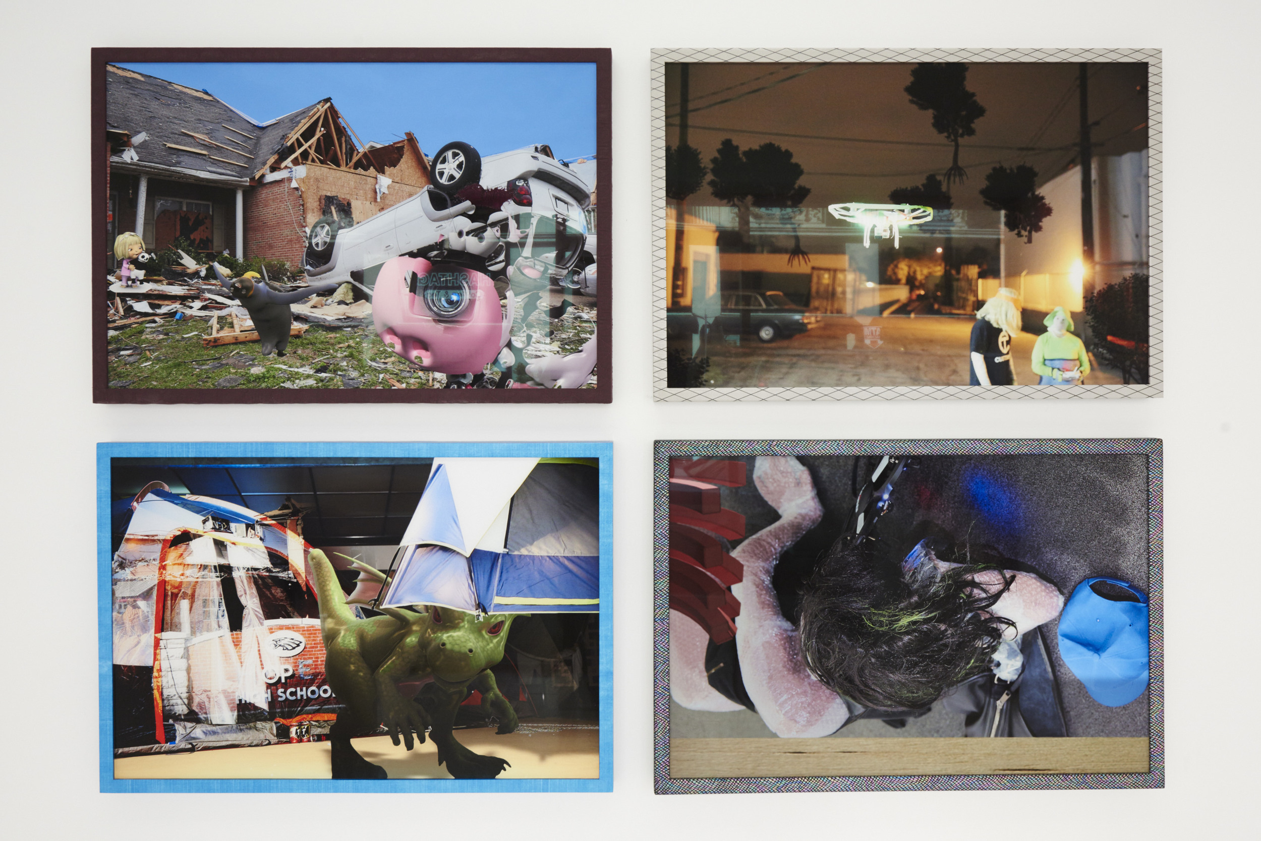 Ryan Trecartin  Empathy Camp & Refugee Petting Zoo , 2015 Digital prints, hand wrapped custom frames, quilted fabric, tent x-pac laminated ripstop, 1.43 oz cuben fiber, neoprene, glue, wood, non-glare plexiglass, aluminum backing Overall Dimensions: 53 1/2 x 77 1/4 x 1 3/4 in Edition 3 of 6 + 2AP