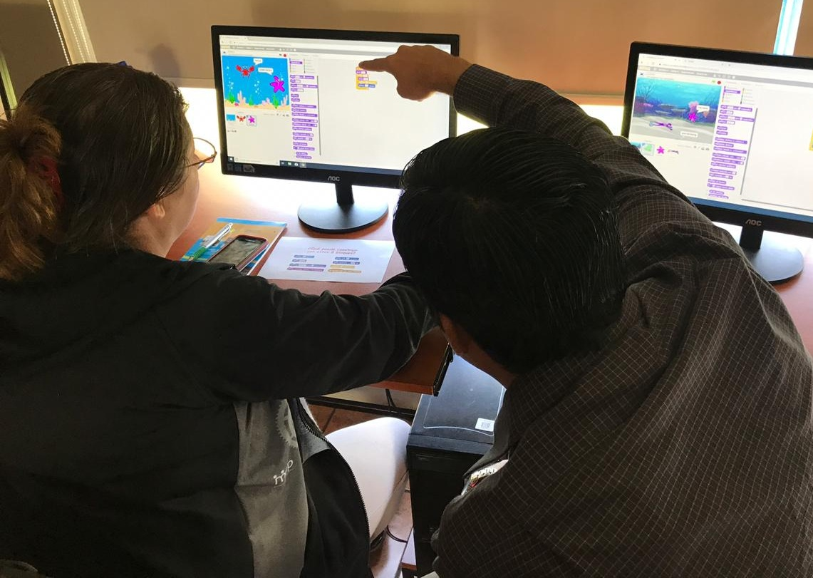 Teachers working together during a Scratch Workshop I led in November.