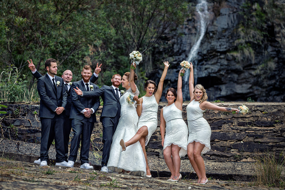 wedding venue utopia waterfall gully bridal party