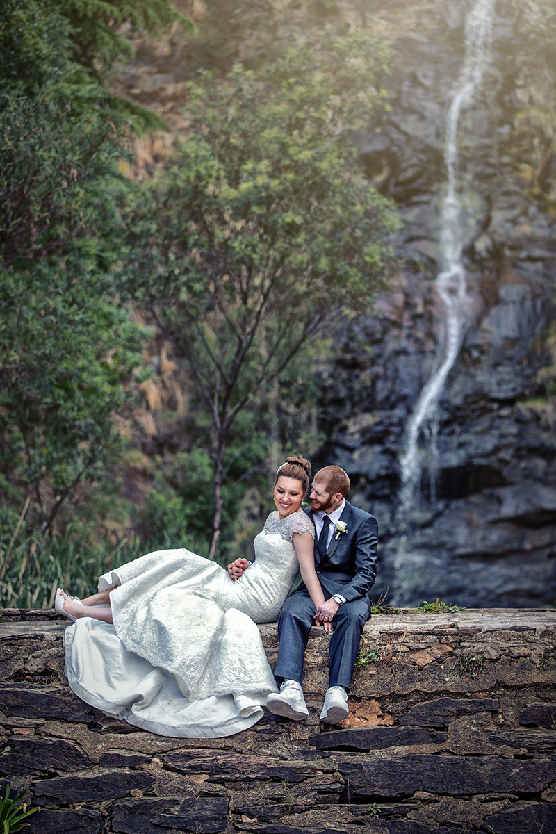 best utopia waterfall gully wedding photo