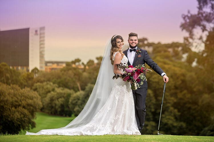 sunset wedding best golf club photography bridal bride and groom
