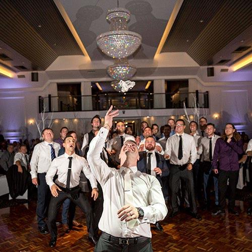 garter toss wedding groom john di fede reception