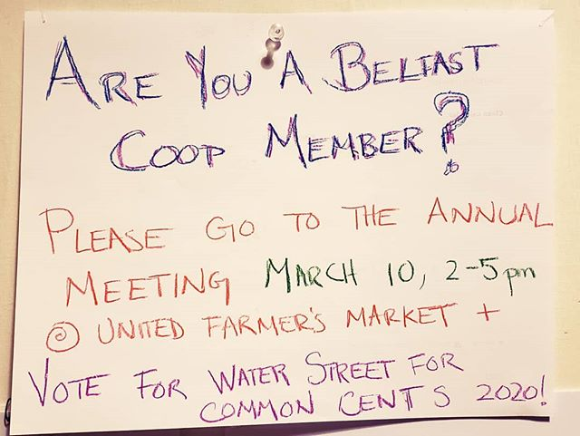 Hey, co-op owners, plan your trip to the laundry mat or to the grocery store around the Belfast Co-op annual meeting so you can vote for us in the 2020 common cents program! The meeting is at the United Farmers Market from 2-5, this Sunday, March 10th. #waterstreetlearningcenter #libertyvillage #community #nonprofit #volunteer #belfastcoop #coop #voteforus #maine