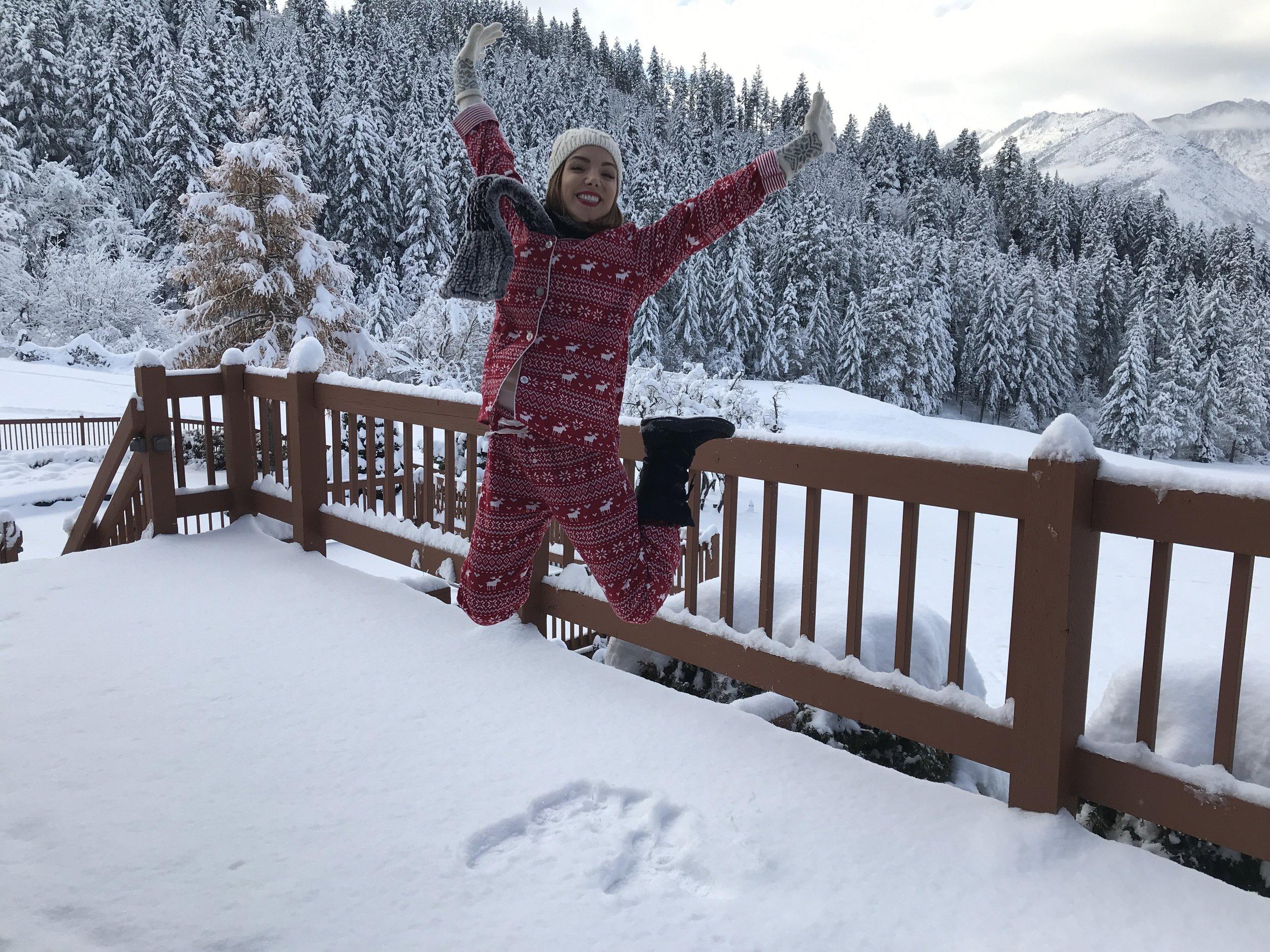 jump for joy... it snowed!