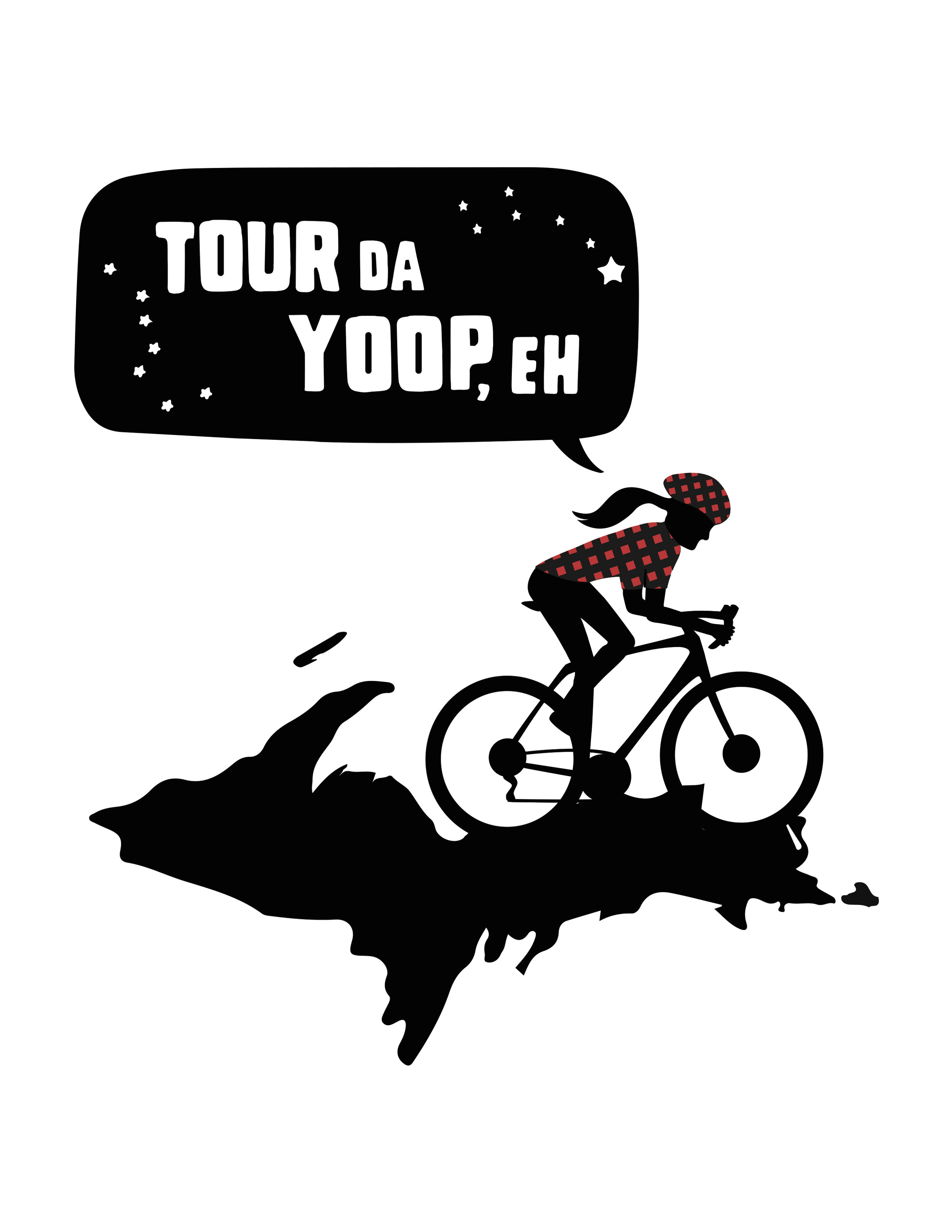 What is Tour Da Yoop, Eh? - - Tour Da Yoop, Eh - Entire 1,200 mile perimeter bucket list ride1) A 10 day race. Daily and overall winners2) Race/Ride 1 day or as many of the 10 as you'd like3) Visit the UP anytime of the year and choose from any of the thousands of miles of glorious routes and have a blast!Translation - Come Ride Around the UP With Me, OK?