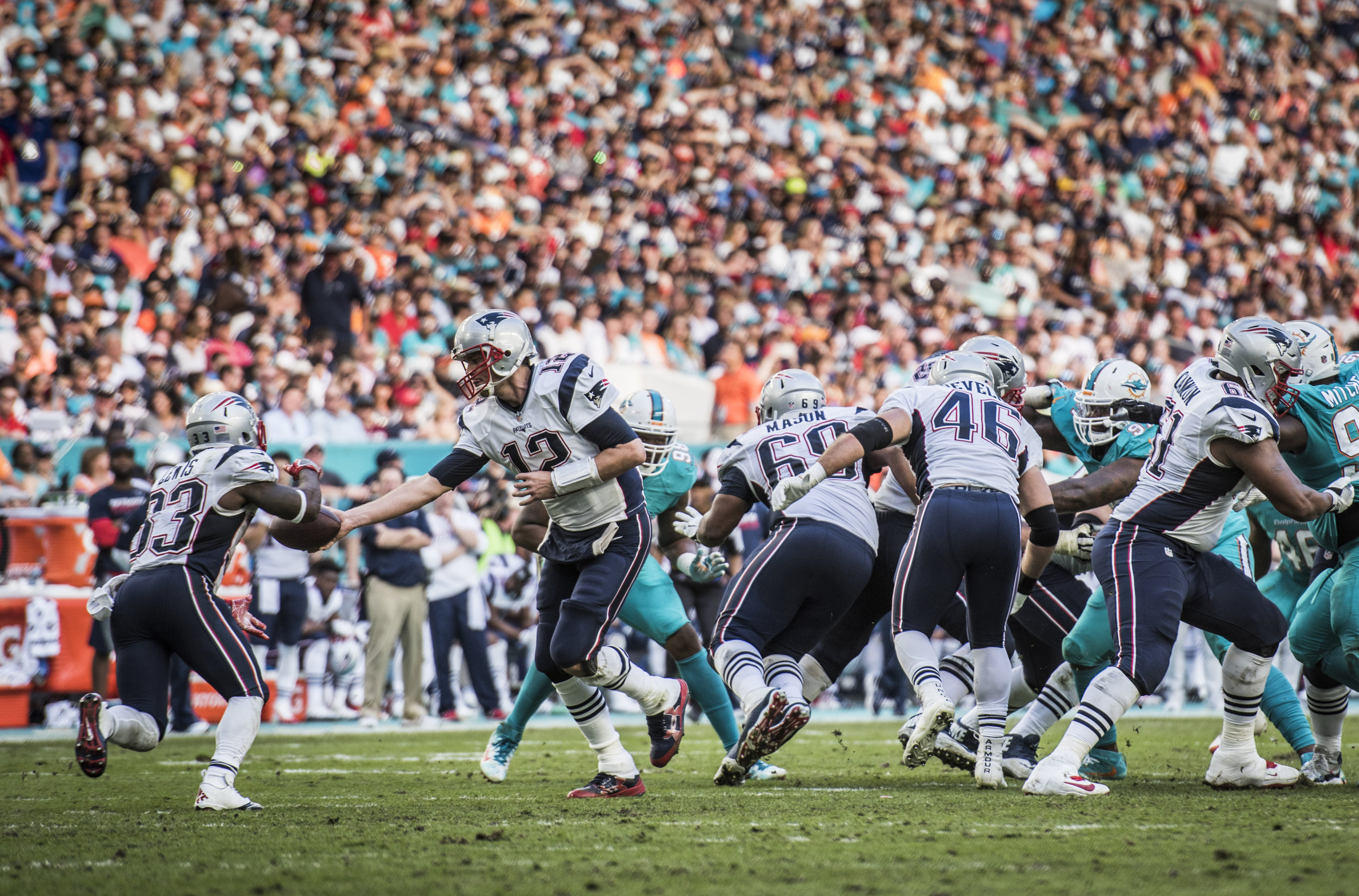 New England Patriots quarterback Tom Brady (12) hands it off to running back Dion Lewis (33) at Hard Rock Stadium in Miami Gardens, Florida, January 1, 2017. Lewis finished with 42 yards on 10 carries.