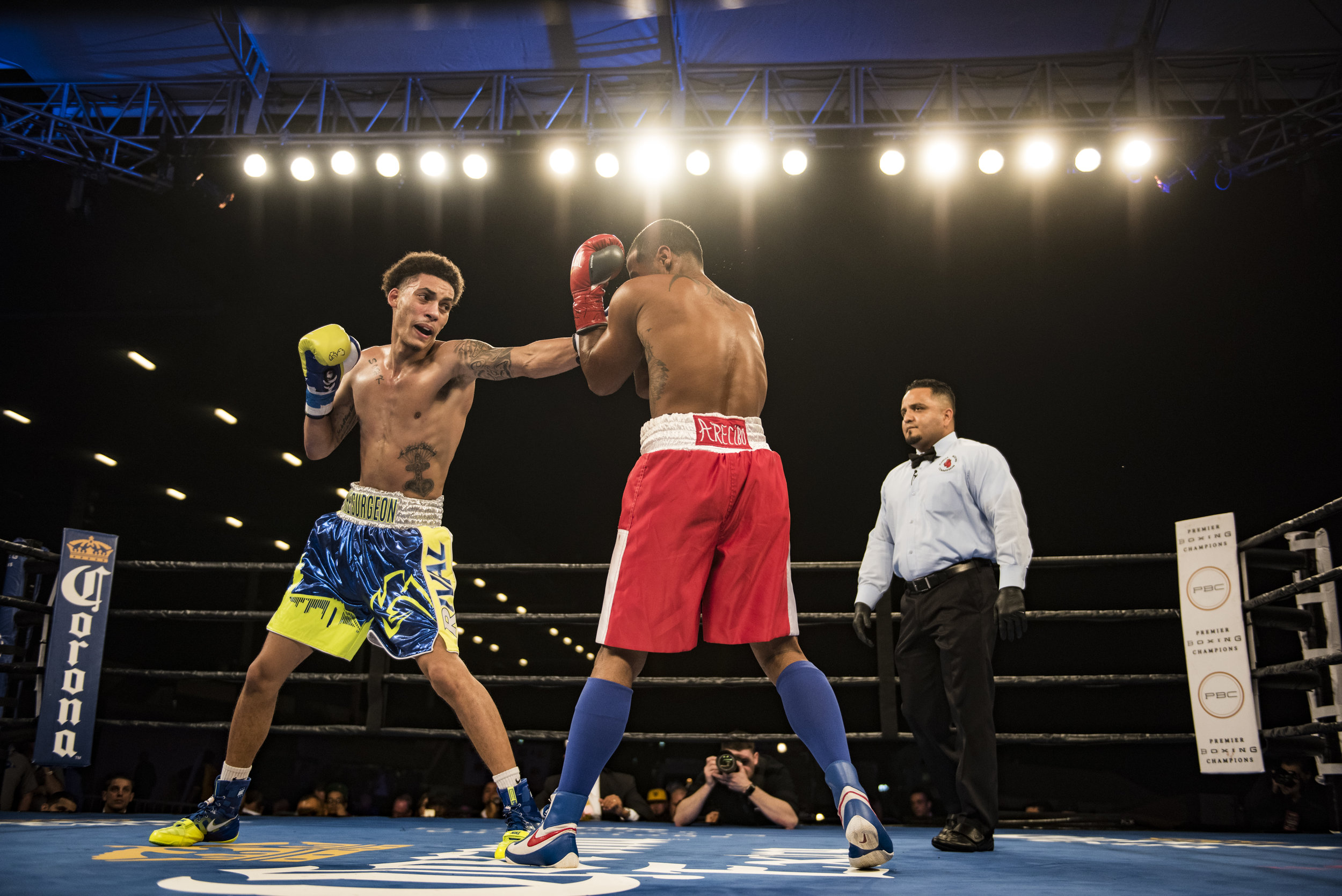 """Dennis """"The Surgeon"""" Galarza connects with a jab during his fight with Edgardo Rivera."""