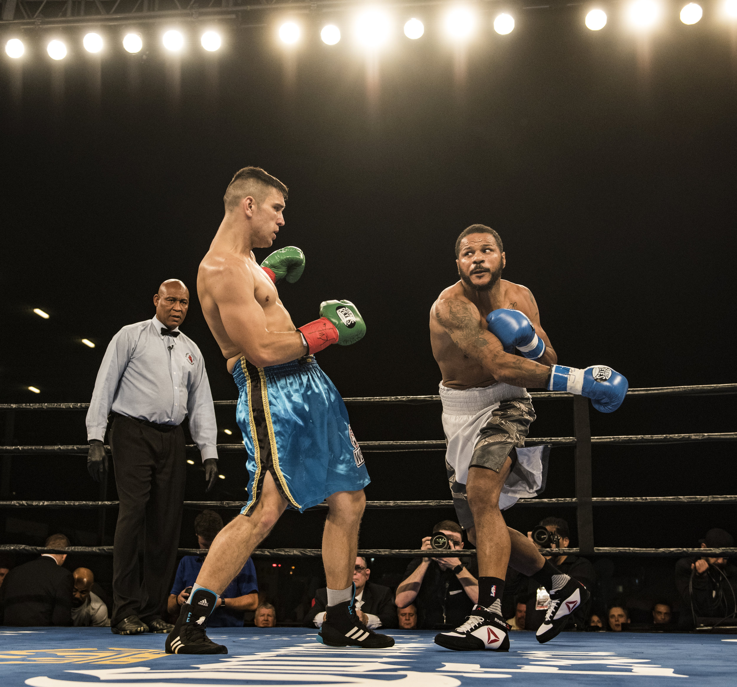 Anthony Dirrell (right) misses with a power punch during his fight against Nobert Nemesapati at Hialeah Casino Park.