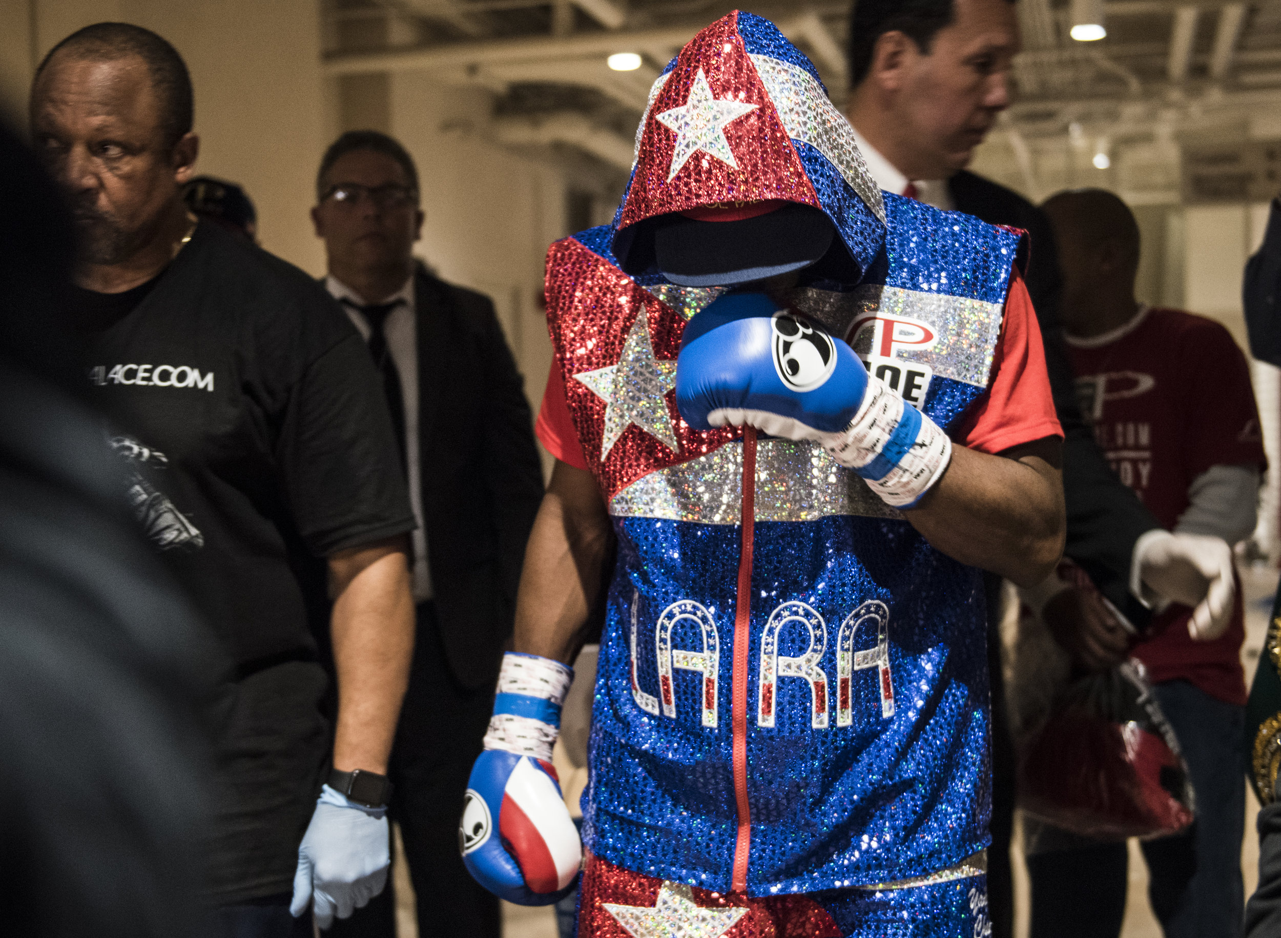 Cuban boxer Erislandy Lara moments before his fight with Yuri Foreman in Hialeah Casino Park.
