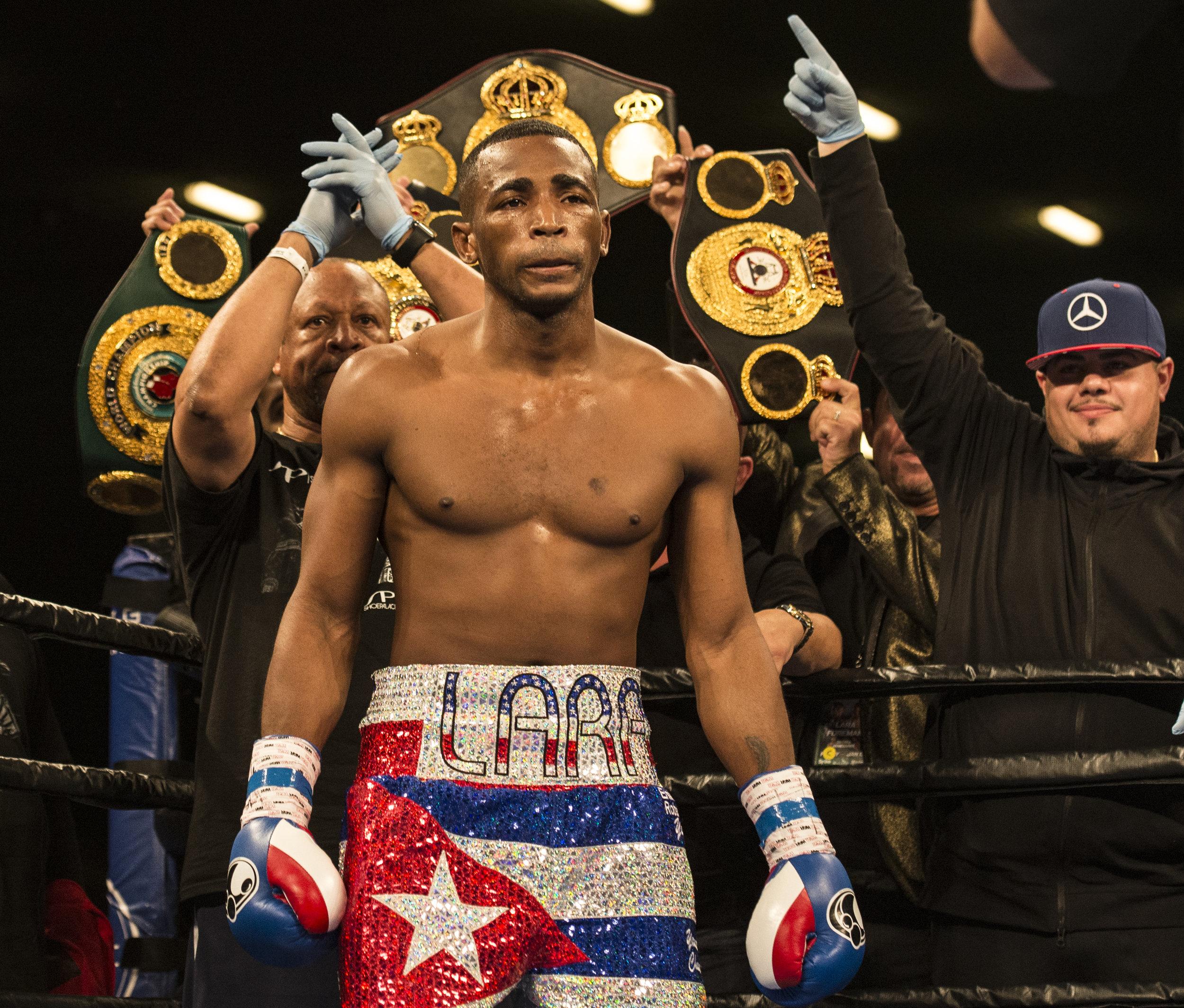 Cuban boxer Erislandy Lara is introduced before his fight versus Yuri Foreman at Hialeah Casino Park.