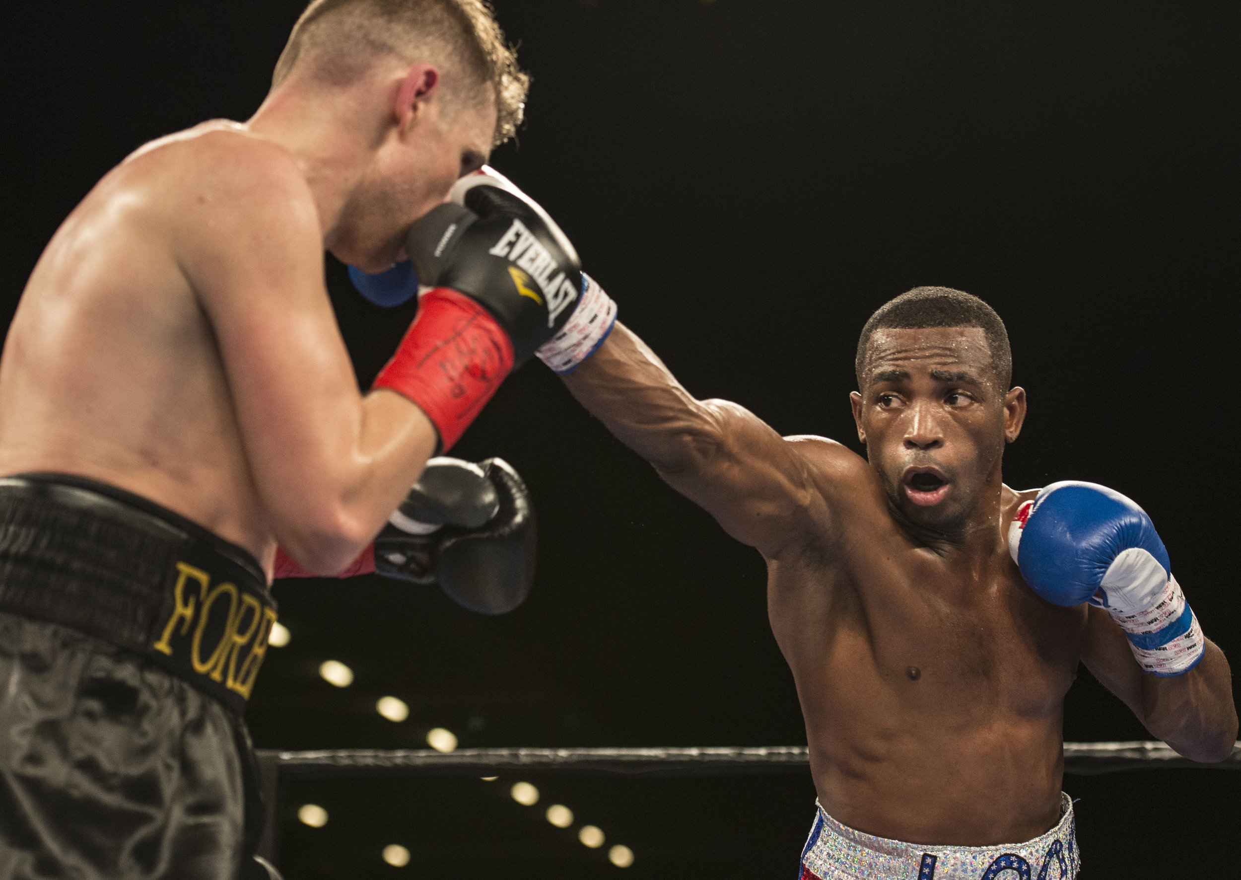 Cuban boxer Erislandy Lara attempts to connect with a jab during his fight against Yuri Foreman at Hialeah Casino Park.