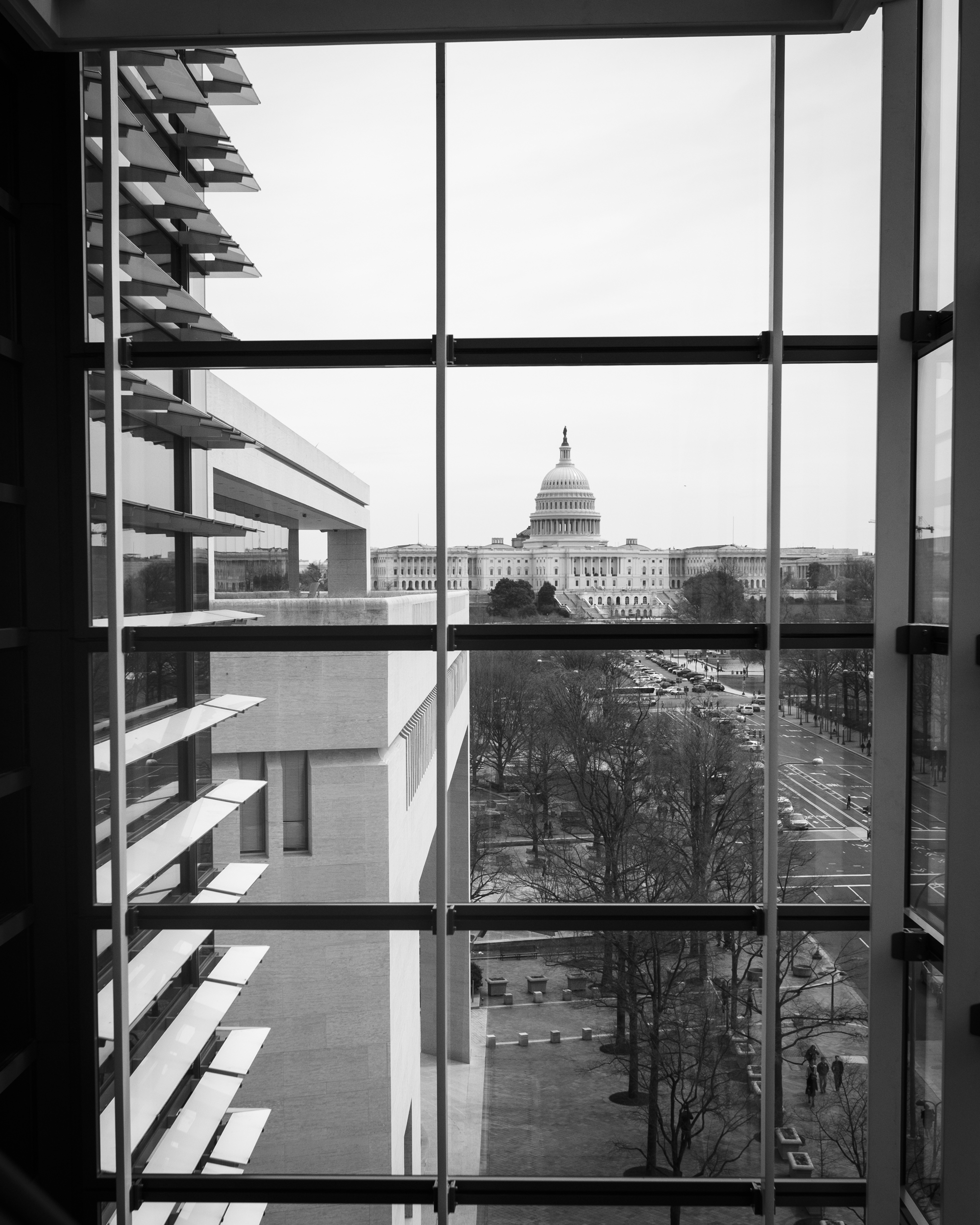 The US Capitol building from inside the Newseum.