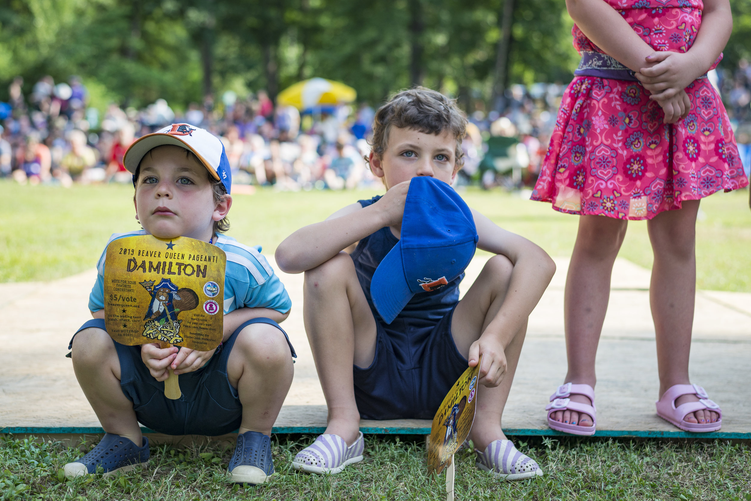 Young members of the crowd watch one of the acts at the 2019 Beaver Queen Pageant on June 1, 2019 in Durham Park.