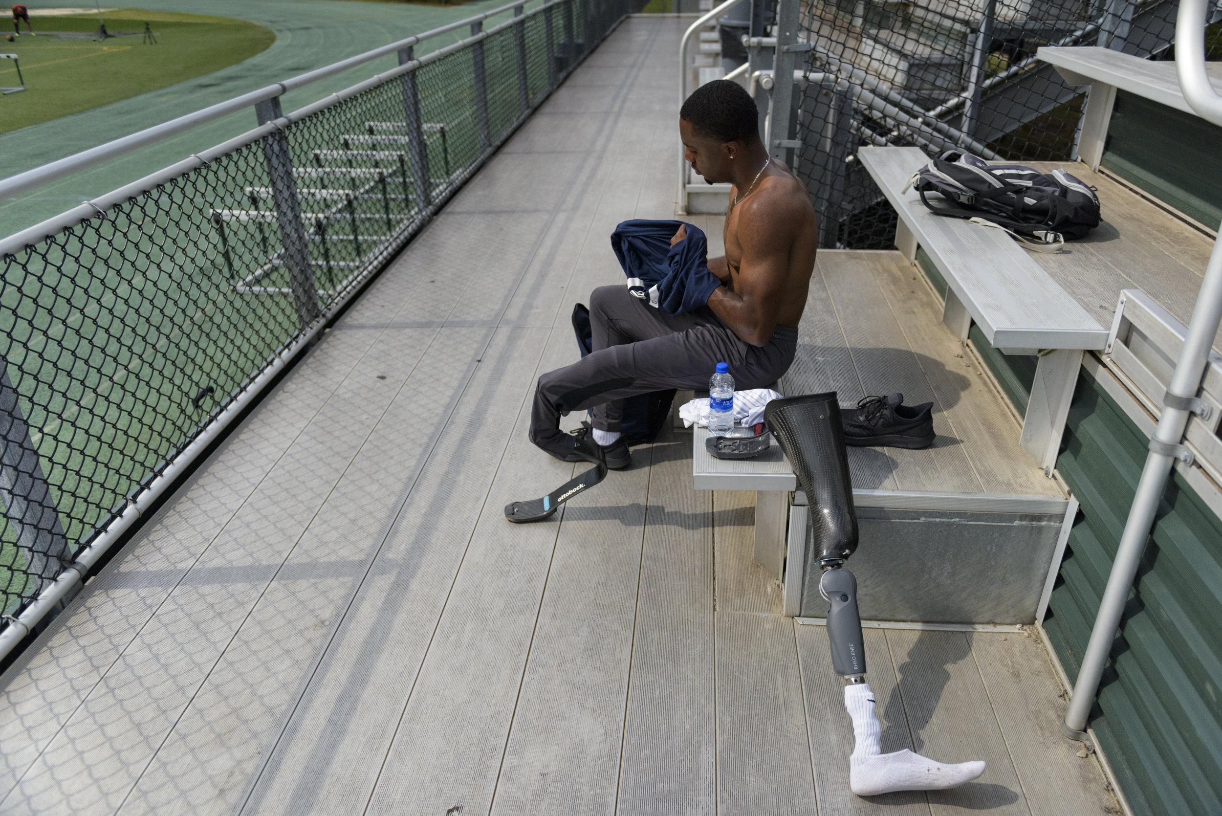 U.S. Paralympian Desmond Jackson prepares for practice on June 6, 2019 in Raleigh, NC.