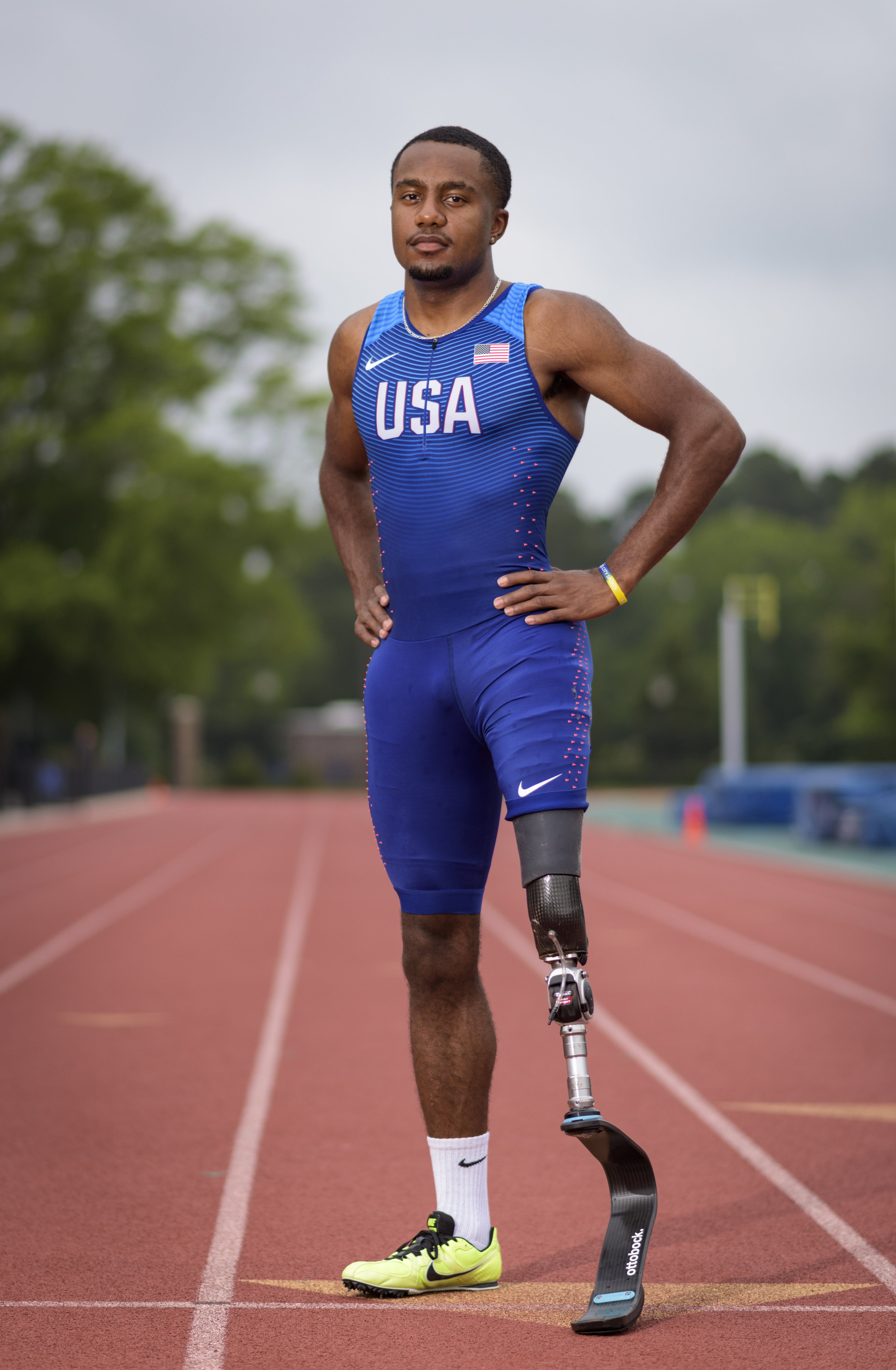 U.S. Paralympian Desmond Jackson poses for a portrait in Durham, NC on June 7, 2019.