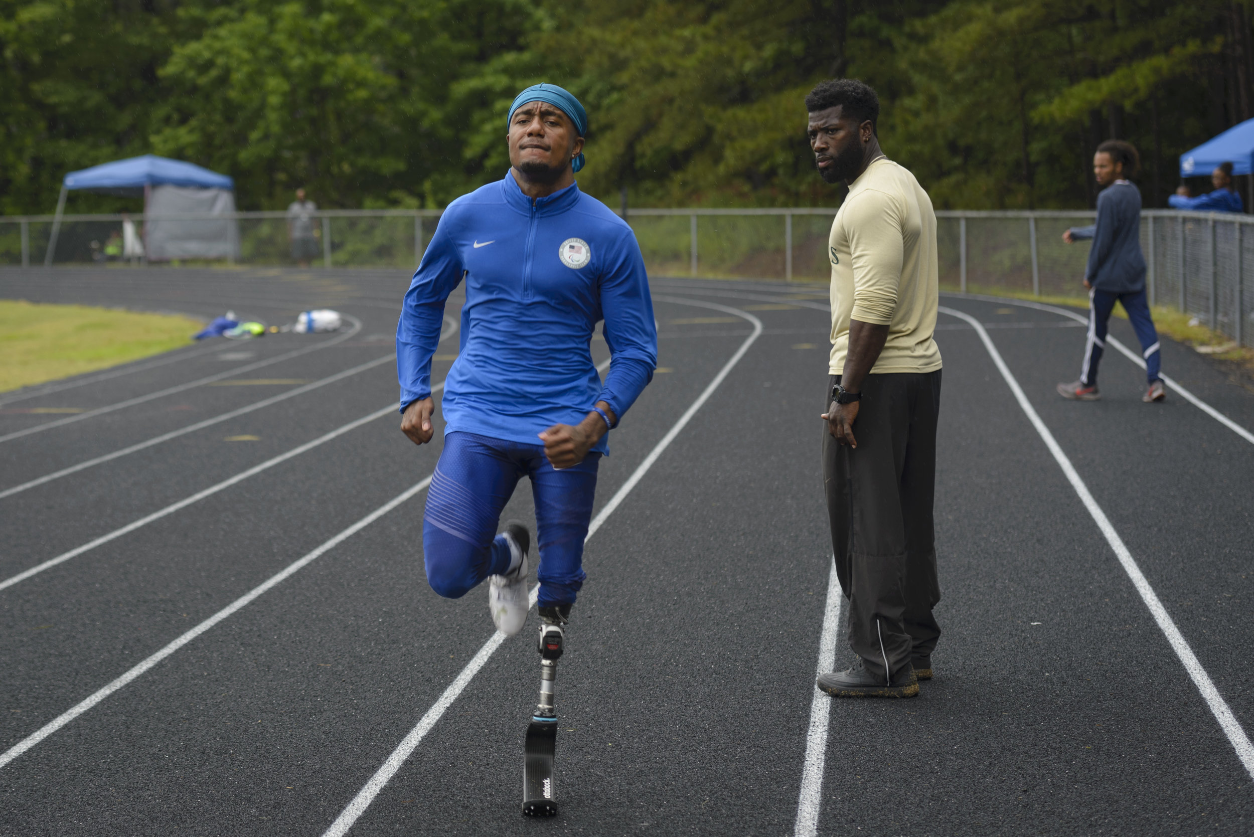U.S. Paralympian Desmond Jackson warms up before his race in Durham, NC on June 8, 2019.