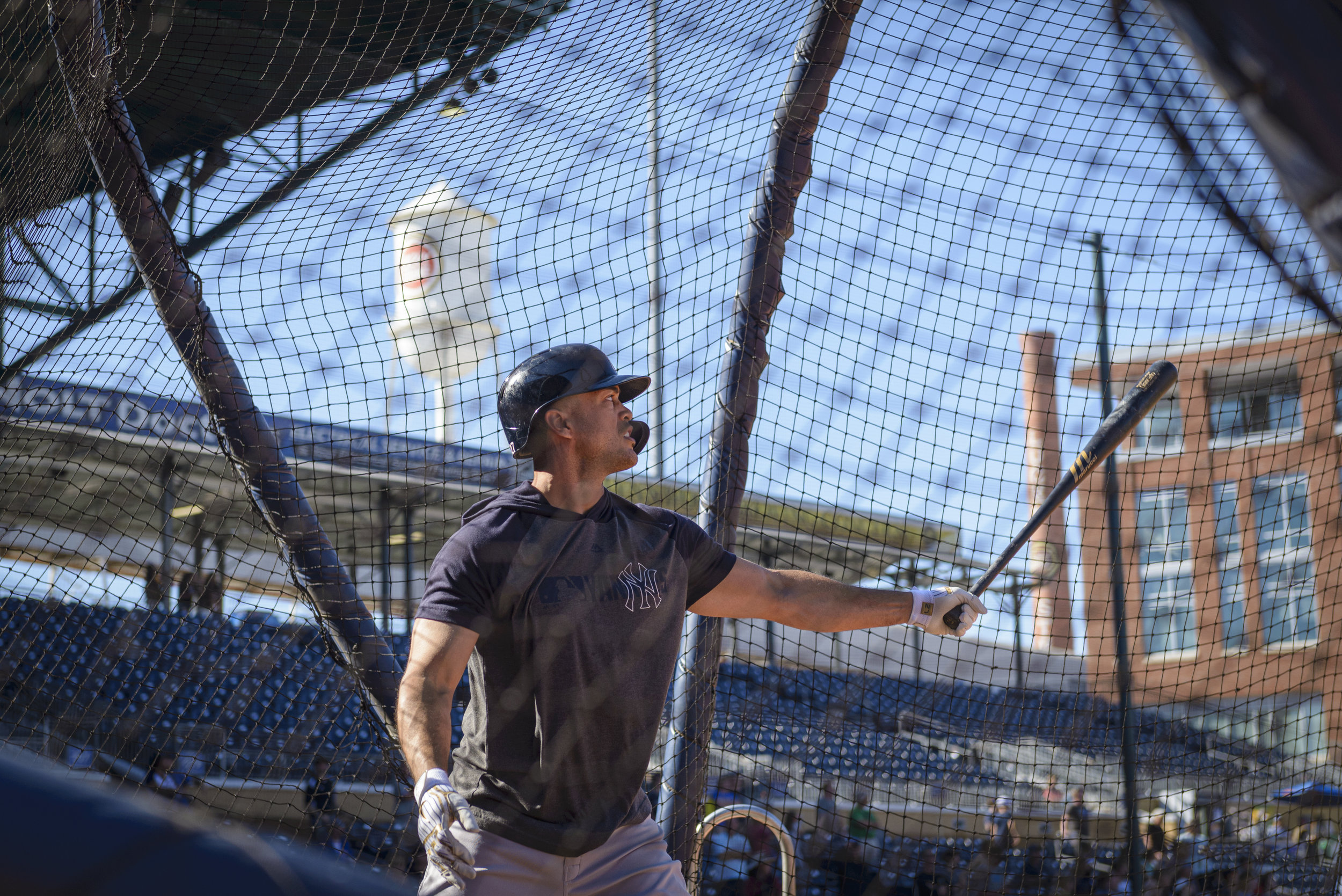 New York Yankees outfielder Giancarlo Stanton during batting practice with the Wilkes-Barre RailRiders, the Yankees' Triple-A affiliate, on June 14, 2019 at Durham Bulls Athletic Park in Durham, NC. Stanton was playing with the RailRiders on a rehab assignment.
