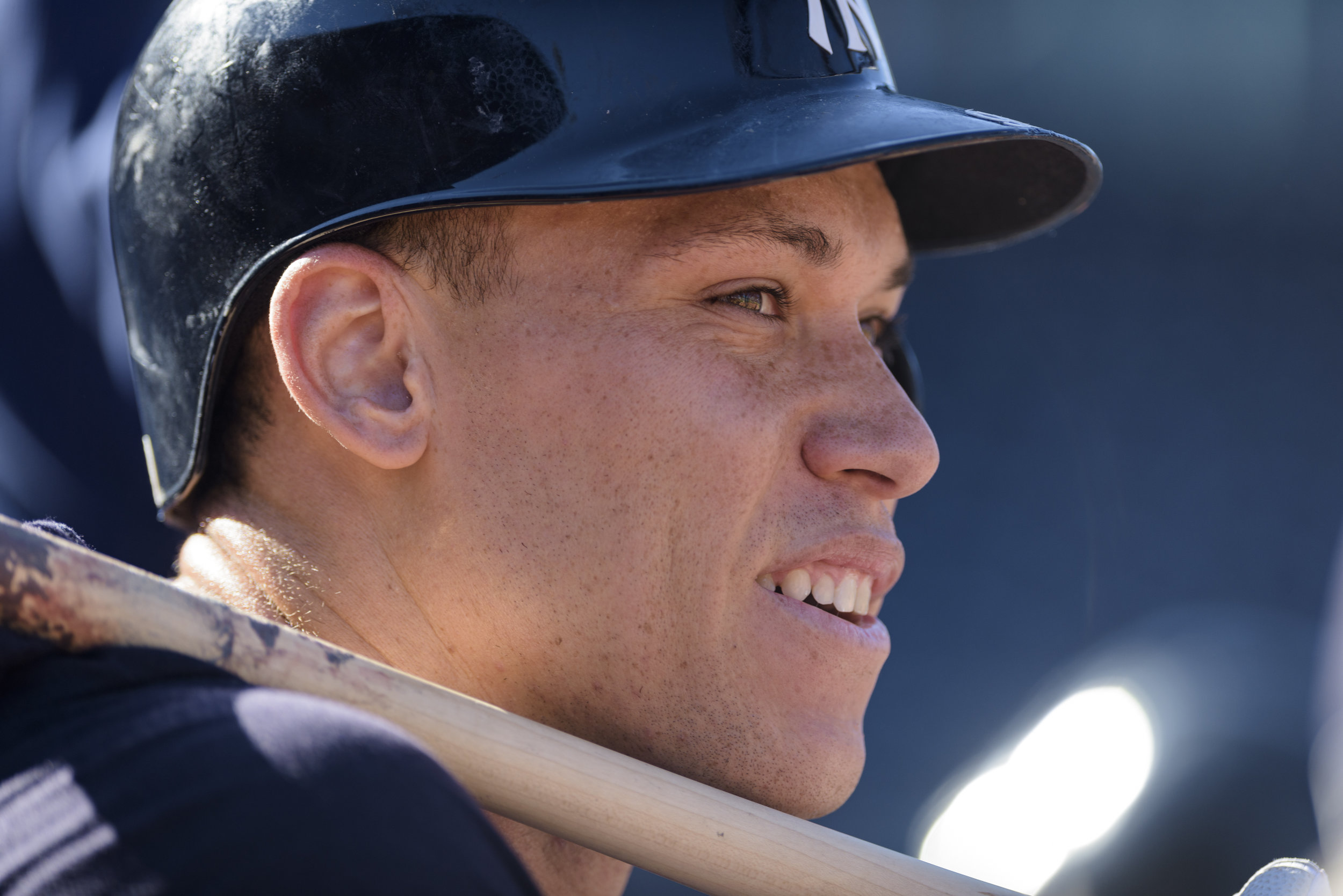 New York Yankees outfielder Aaron Judge watches batting practice with the Wilkes-Barre RailRiders, the Yankees' Triple-A affiliate, on June 14, 2019 at Durham Bulls Athletic Park in Durham, NC.