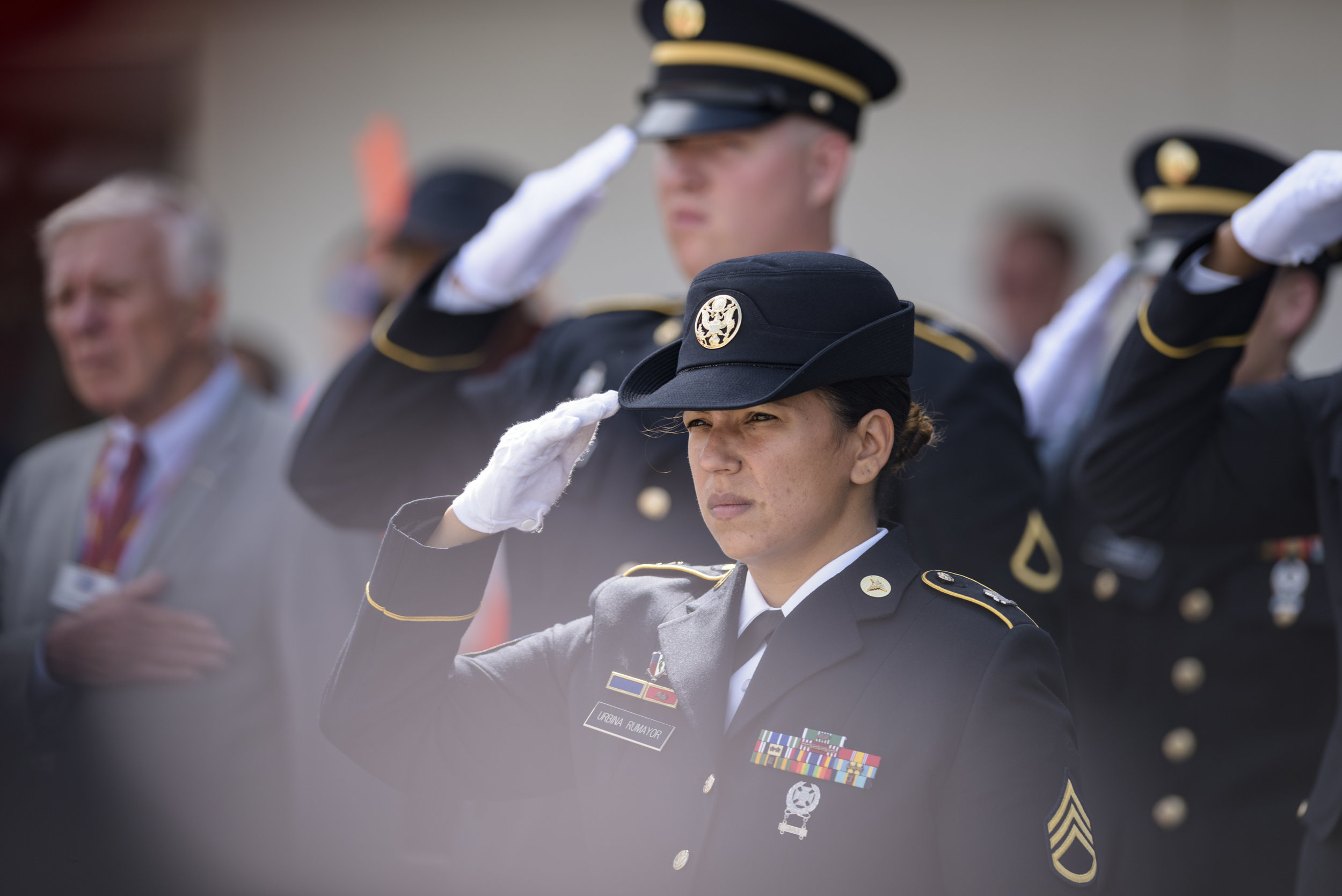 The U.S. Army Color Guard salutes as the remains of Army Pfc. William H. Jones arrive at RDU Airport in Raleigh, NC on June 20, 2019. Jones went missing-in-action during the Korean War on Nov 26, 1950.