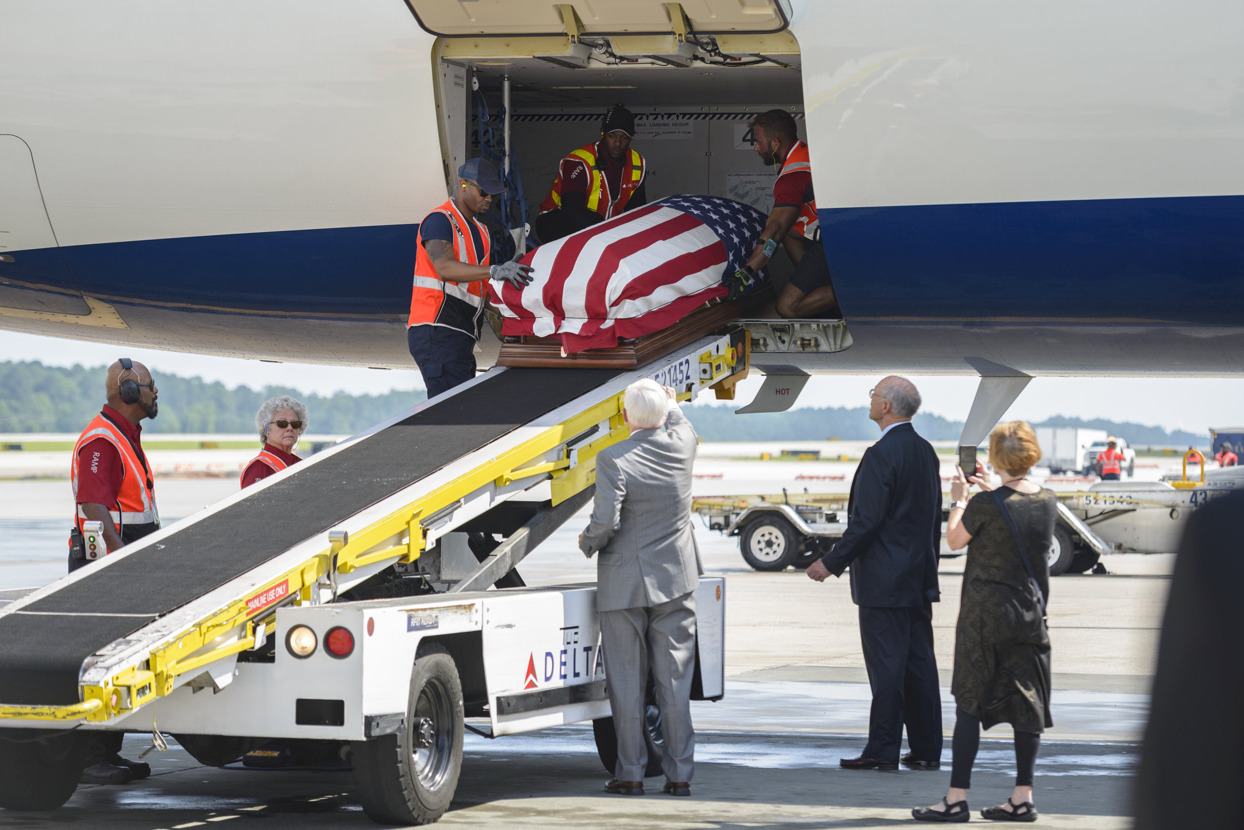 Army Pfc. William H. Jones remains arrive at RDU Airport in Raleigh, NC on June 20, 2019. Jones went missing-in-action during the Korean War on Nov 26, 1950. Several decades passed before his body was recovered after North Korea turned over 55 boxes containing the remains of American service members killed during the Korean War.