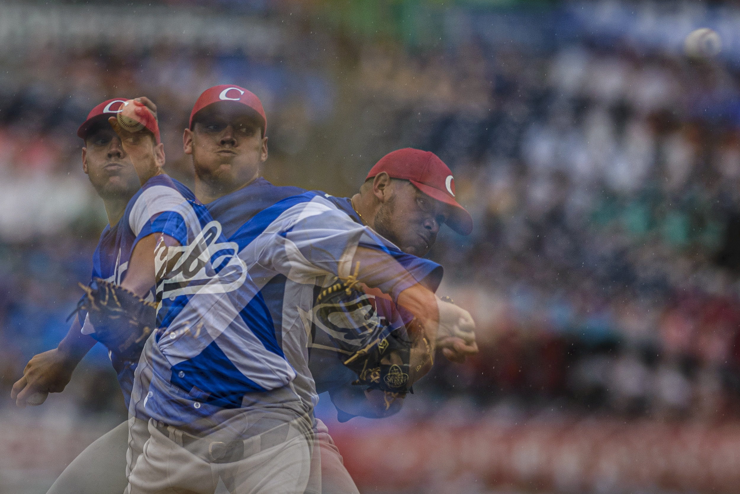 A multiple exposure image of cuban pitcher Yariel Rodriguez on July 4, 2019 at Durham Bulls Athletic Park in Durham, NC. Rodriguez pitched five innings, allowing seven hits and four runs.