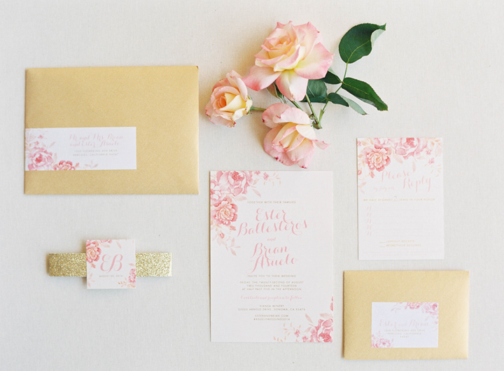 I absolutely ADORED this invitation suite that we created for them that was perfectly blush and gold.  We added a glitter gold belly band to tie everything together to add some extra bling.