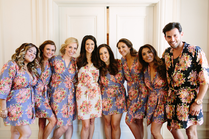 How cute are the bridesmaids and Caesar in their robes?!