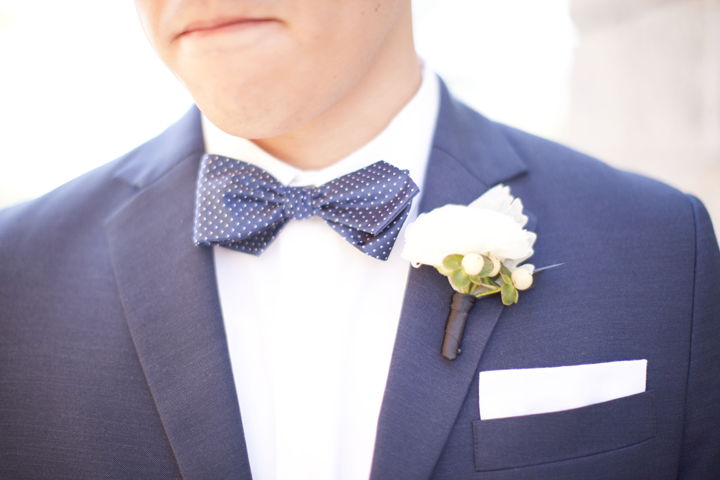 """Loved that the groomsmen were all """"dappered out"""" in their blue suits and bow ties. #treschic"""