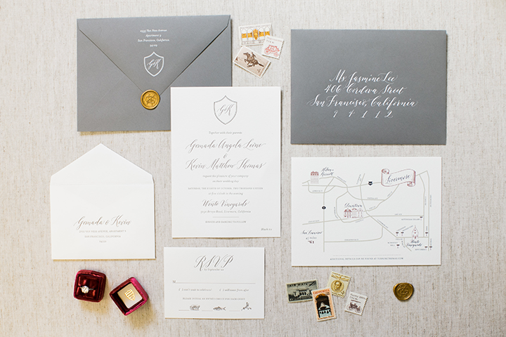 Such a beautiful invitation suite hand calligraphed by  Bianca Mascarro , don't you think?