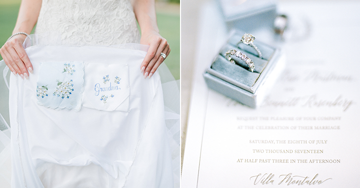 This sweet detail that our bride incorporated to her dress of her grandmother's handkerchief was beyond endearing. The heirlooms that you see above also belonged to the bride's family and I love that we found a place for them to shine for the wedding!