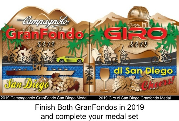 2019 GranFondo San Diego Finishers Medal with the  2019 Giro Finishers Medal