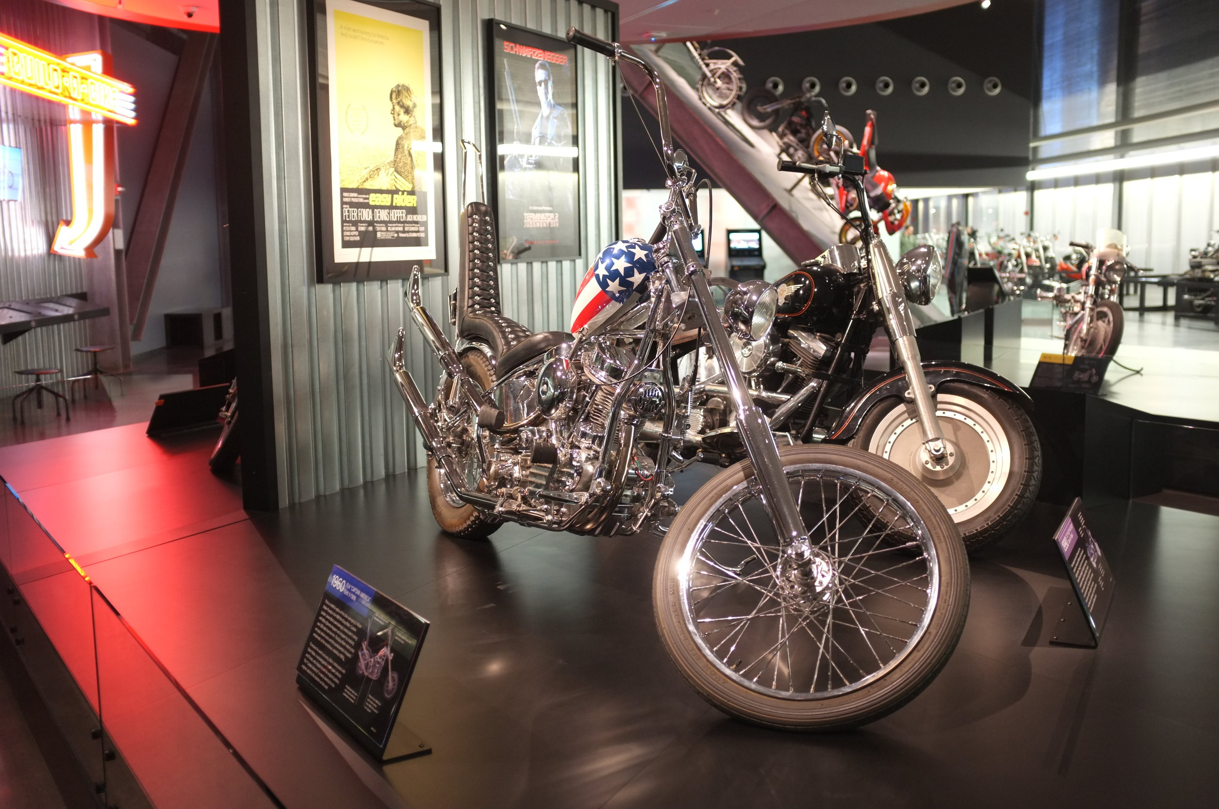 Captain America Panhead @ the Harley Davidson Museum in Milwaukee