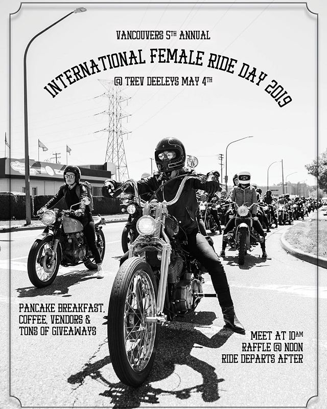 The first time I put on this ride, 4 ladies on bikes showed up. Last year, we had 100 - the largest gathering of women on bikes in Canada. This year, we're switching up the route, having a pancake breakfast, having women's-ride groups and women ran brands vend (for free! Hit me up if you want to get in on this) and of course tons of good giveaways. I'm also going to be selling @thedreamroll tickets in Canadian dollars and giving out a free ticket in the raffle. 10am at @trevdeeleyhd in Vancouver on May 4th - don't miss it! The event will be covered by @revolutionmotorcyclemag 🔥 Hit me up if you want to donate prizes, sponsor, help out or vend #IFRD #DreamRoll #WomenWhoRide #IFRD19 photo by @barkerfoto