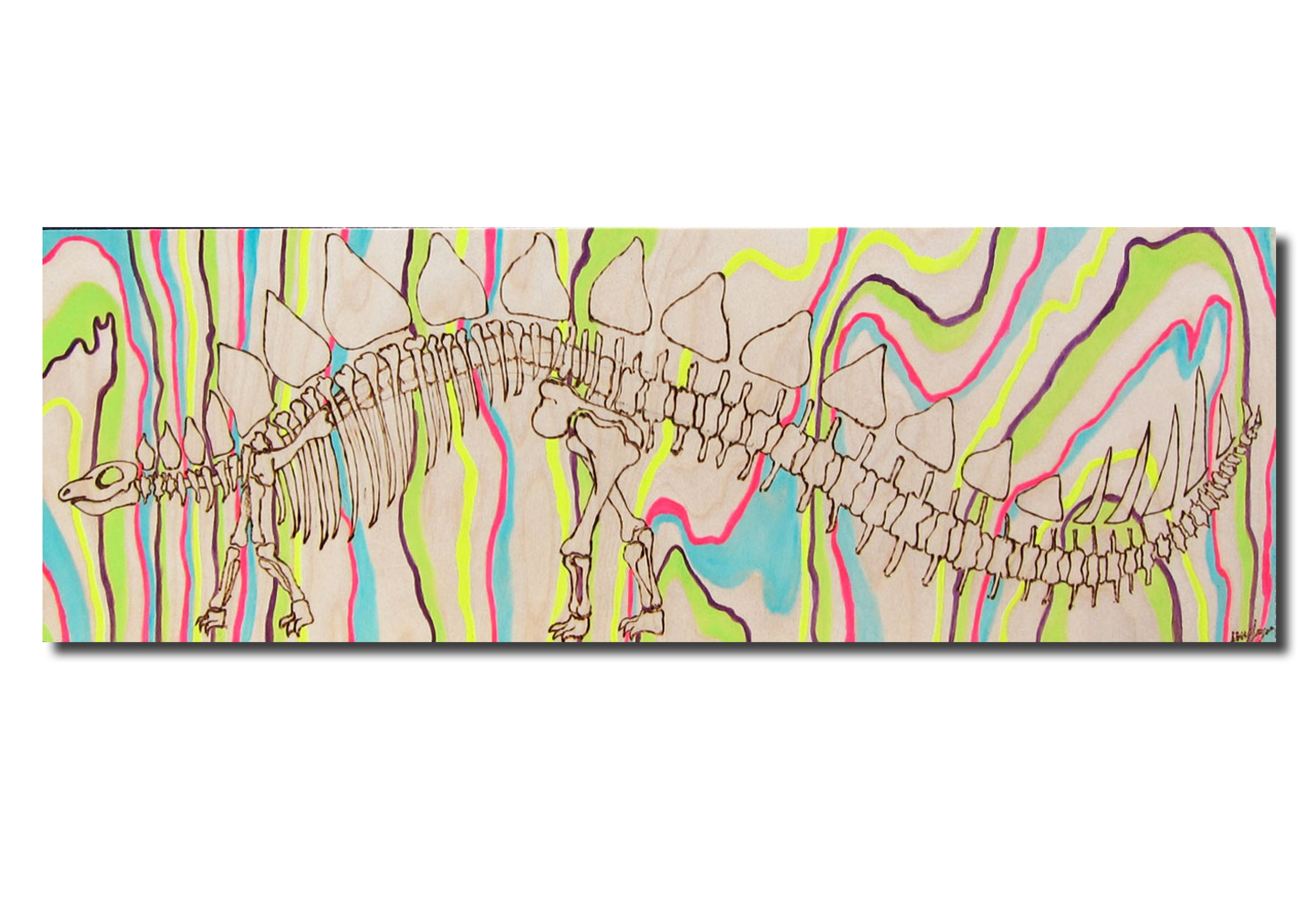Megasaura$$ - Lizzy Layne12 inches x 36 inchesMixed Media Wood Burning$550