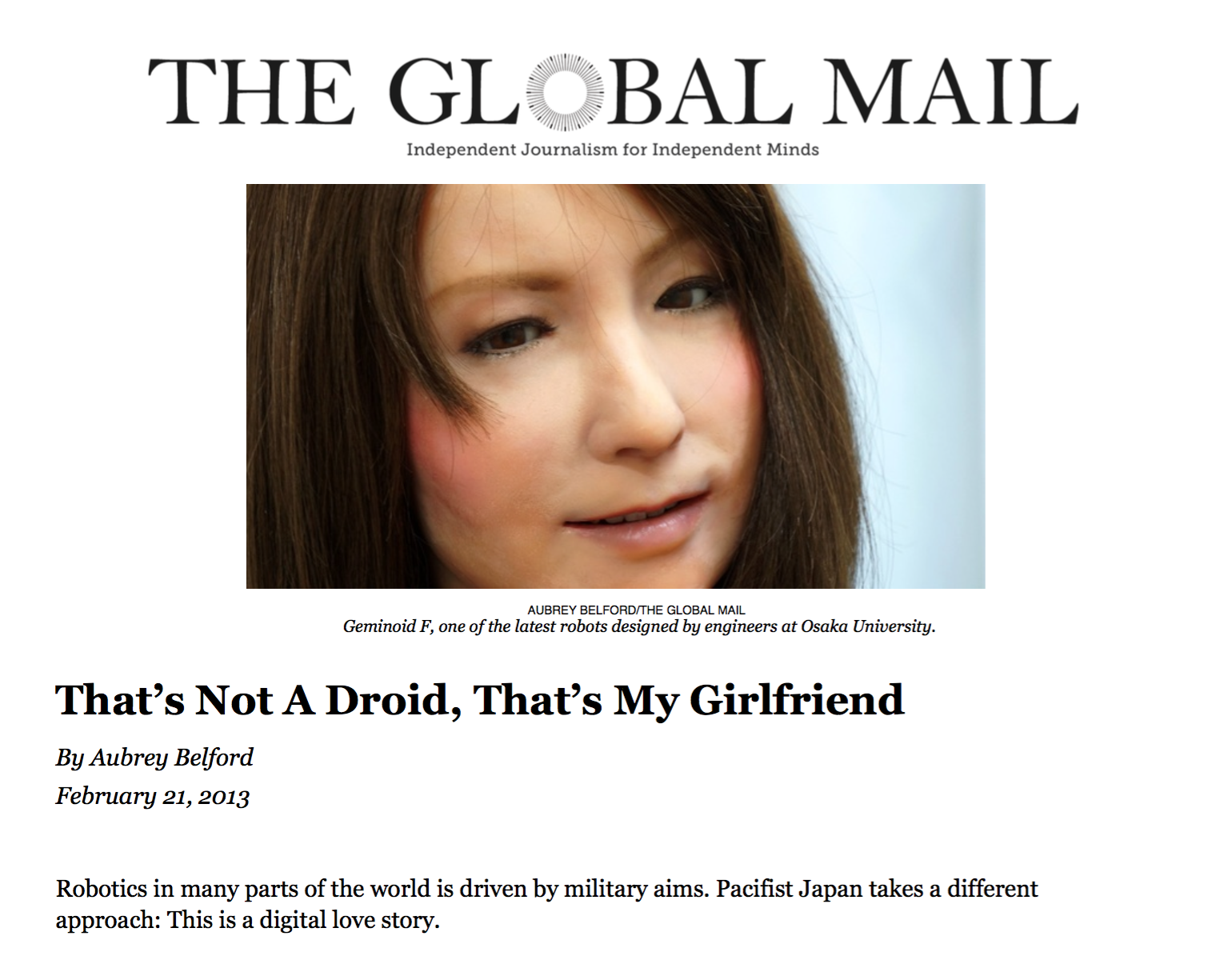 "The Global Mail ""That's Not A Droid, That's My Girlfriend""     Australia/2013"