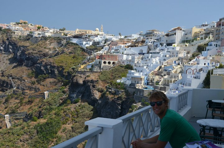 Admiring the view from the caldera in Santorini